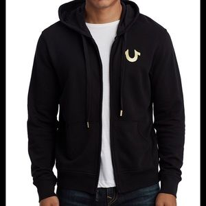 True Religion Zip Up Hoodie (Black and Gold)